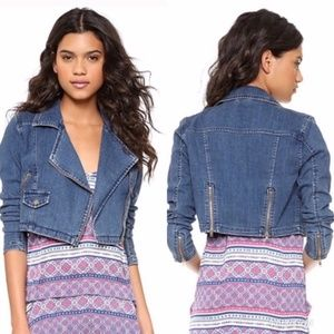 Free People Moto Zip Denim Jean Jacket Crop, XS